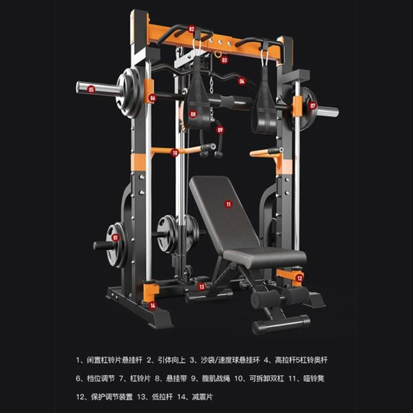 USA Commercial Gym Training Equipment Smith Machine Squat Weightlifting Barbell Bench Press Gantry